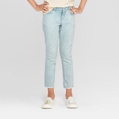 Girls' Super Skinny Raw Hem Jeans - Cat & Jack™ Light Wash