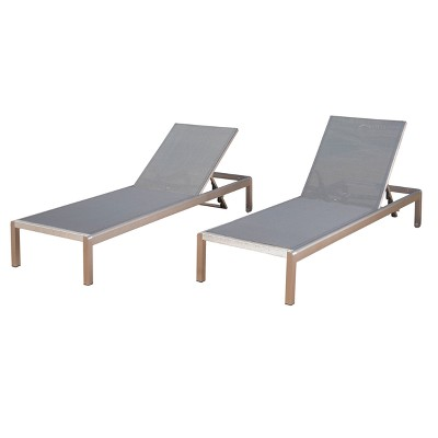 cape coral set of 2 aluminum mesh chaise lounge silver dark gray christopher knight home