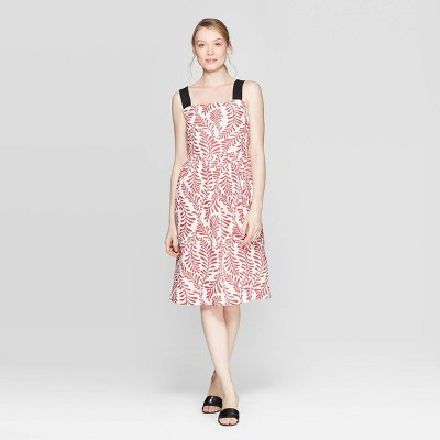 Women's Leaf Print Contrast Strap Midi A Line Dress - Who What Wear™ Red/White