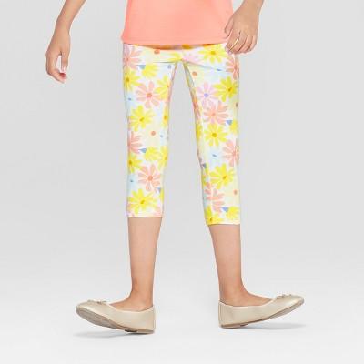 Girls' Floral Capri Leggings - Cat & Jack - Yellow