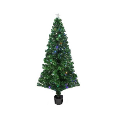 Northlight 4' Prelit Artificial Christmas Tree LED Color Changing Fiber Optic with Star Tree Topper