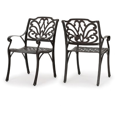 aluminum dining chairs target circular swivel chair alfresco set of 2 cast bronze christopher knight home