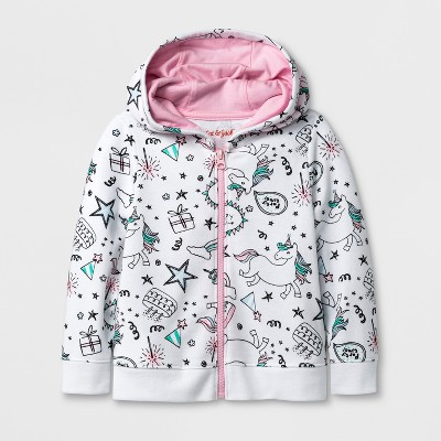 Toddler Girls' Unicorn Hooded Sweatshirt - Cat & Jack™ White