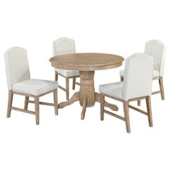 White Upholstered Chairs Folding Rental Michael 42 Round Dining Table With Set Of 4 Wash Home Styles