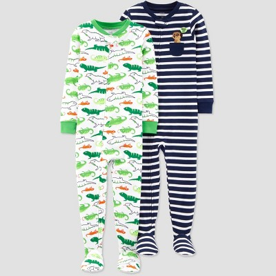 Baby Boys' Stripe Mererkat Lizard Footed Sleepers - Just One You® made by carter's Navy/Green