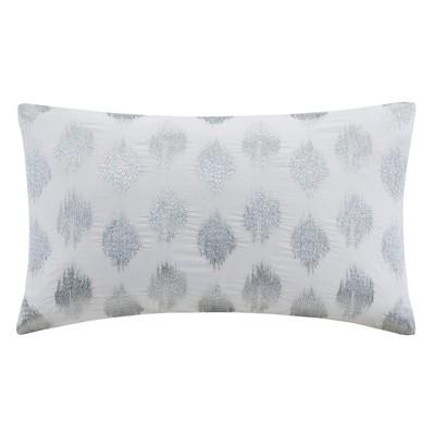 12 x18 nadia dot embroidered lumbar throw pillow silver