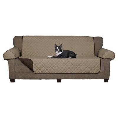 Chocolate Reversible Pet Loveseat Cover Microfiber Sofa Slipcover - Maytex