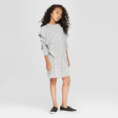 Girls' Flutter Ruffle T-Shirt Dress - art class™ Gray