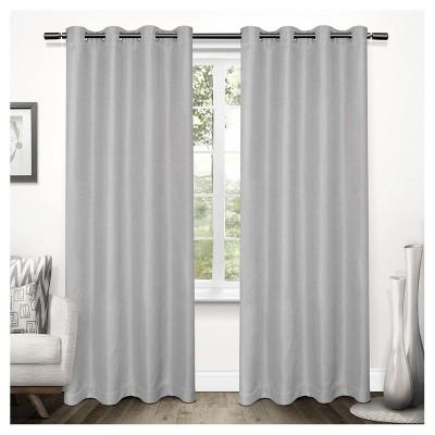 Tweed Textured Linen Woven Blackout Grommet Top Window Curtain Panel Pair - Exclusive Home™