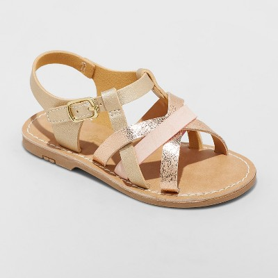 Toddler Girls' Elsa Strappy Sandals - Cat & Jack™ Gold