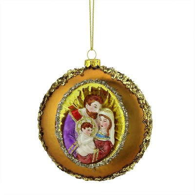 """NORTHLIGHT 4"""" Joseph, Mary and Baby Jesus Sequin Religious Glass Disc Christmas Ornament - Gold"""