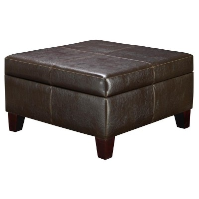 Bert Square Faux Leather Storage Ottoman Black - Dorel Living