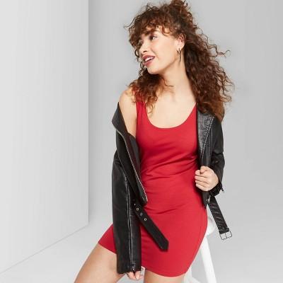 Women's Sleeveless Scoop Neck Knit Tank Dress - Wild Fable™ Red