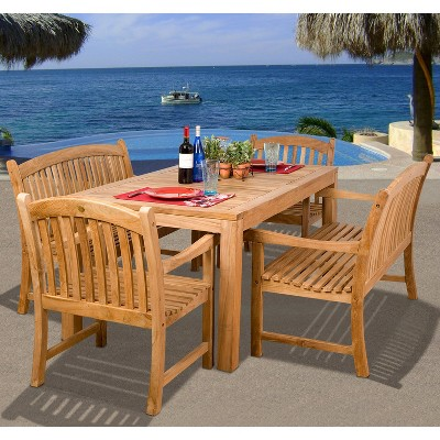 https www target com p holmes 5 piece teak rectangular patio dining furniture set a 15259173