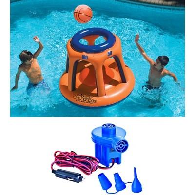 Swimline 90285 Basketball Hoop Shootball Inflatable Pool Toy + Electric Air Pump