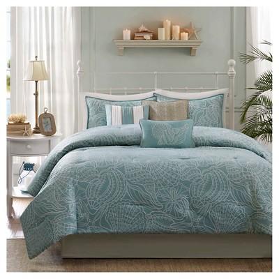 Soledad 7 Piece Comforter Set- Blue (Queen )