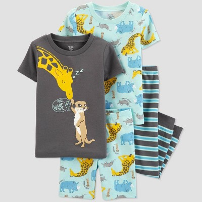 Toddler Boys' 4pc Blue Giraffe Pajama Set - Just One You® made by carter's Gray/Blue