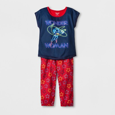 Girls' Wonder Woman 2pc Pajama Set - Blue/Red