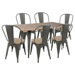 Farmhouse Dining Chairs Oak Slat Back Oregon 7 Piece Industrial Set Lumisource Target