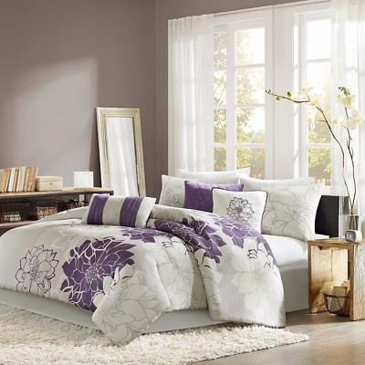 gray purple victoria comforter set king 7pc