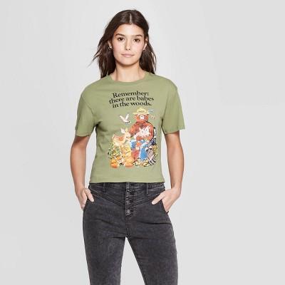 Women's Smokey Bear Short Sleeve Crewneck Babes in the Woods T-Shirt (Juniors') - Light Green