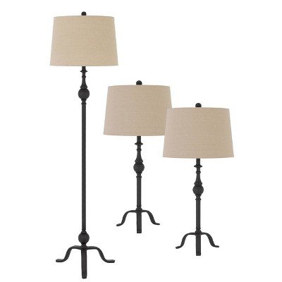 61 5 metal floor lamp with 31 set of 2 matching table lamps with hardback linen shades tan cal lighting
