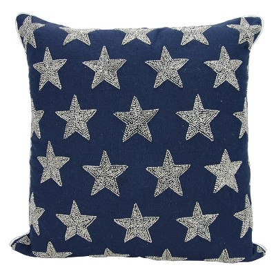 Luminecence Beaded Stars Oversize Square Throw Pillow Navy/Silver - Mina Victory