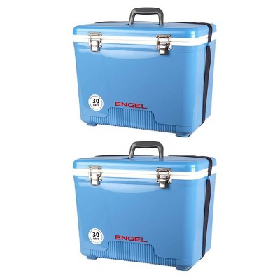 Engel Coolers 30 Quart Lightweight Insulated Cooler Drybox, Arctic Blue (2 Pack)