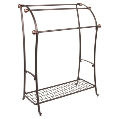 York Lyra Free Standing Towel Rack Split Bronze - InterDesign