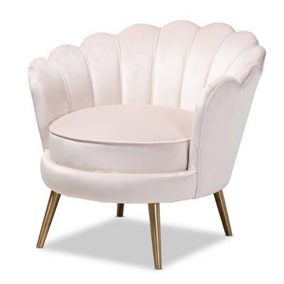 cosette velvet upholstered chair light beige gold baxton studio