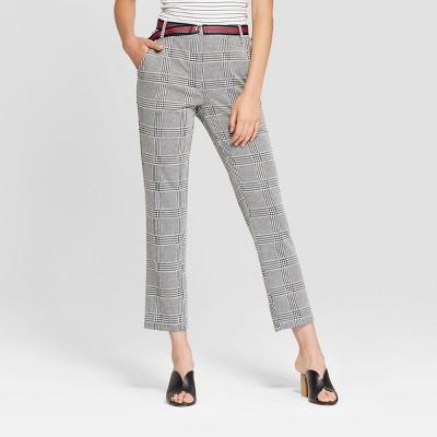 Women's Plaid Double Knit Menswear Pants - 3Hearts (Juniors') Black/White