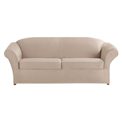 3pc Ultimate Stretch Suede Sofa Slipcover - Sure Fit