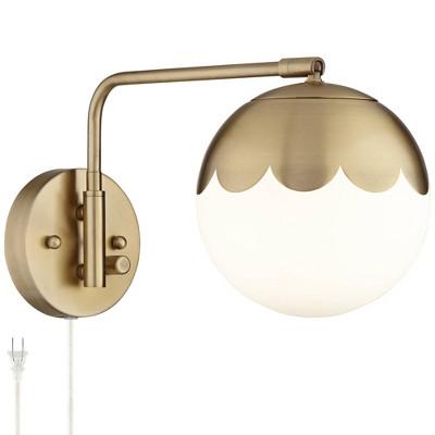 360 lighting modern swing arm wall lamp antique brass plug in light fixture globe glass shade bedroom bedside living room reading