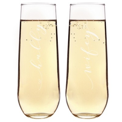 """2ct """"Wifey & Hubby"""" Stemless Champagne Flutes"""