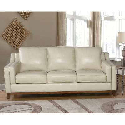 abbyson living belmont leather sofa microfiber bed with chaise allie top grain cream target
