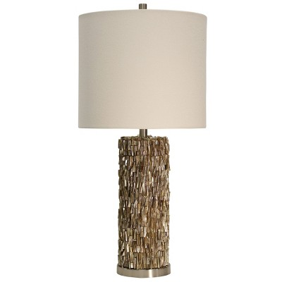 Mystic Shell Brown Table Lamp with White Hardback Fabric Shade (Lamp Only) - StyleCraft