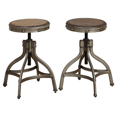 adjustable height chairs chair cover rentals regina stool with nailhead set of 2 pewter silver target marketing systems