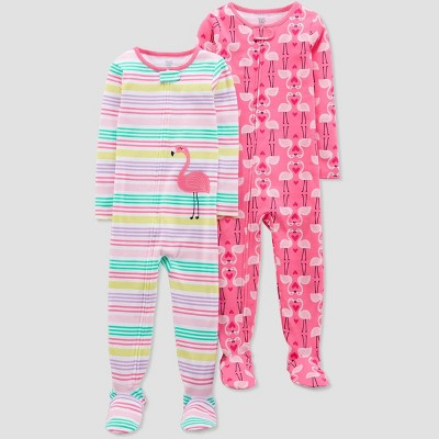 Toddler Girls' Pink Flamingo Stripes Footed Sleepers - Just One You® made by carter's Pink