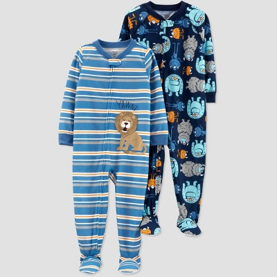 Baby Boys' Stripe Lion Monster Footed Sleepers - Just One You® made by carter's Blue