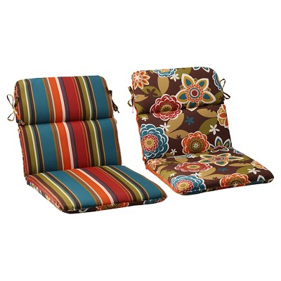 outdoor reversible rounded chair cushion brown turquoise floral stripe