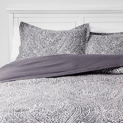 Paisley Ogee Comforter Set Gray - Threshold™