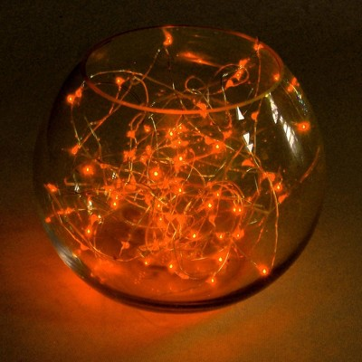 2ct Battery Operated Submersible Mini String Lights LED With Timer Orange - Lumabase