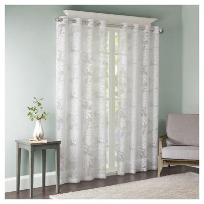 63 x50 maui palm leaf burnout window sheer white