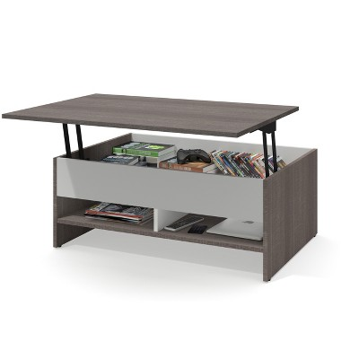 37 small space lift top storage coffee table bark gray white bestar