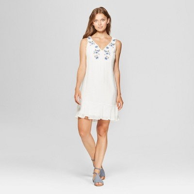 Women's Sleeveless Embroidered Flounce Hem Shift Dress - Lux II - White
