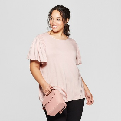 Women's Plus Size Short Sleeve Crew Neck Smocked Detail Knit T-Shirt - Ava & Viv™