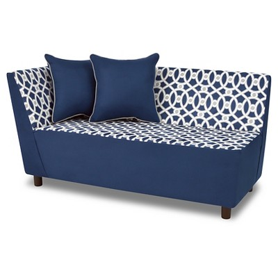 Tween Chaise With 2 Pillows - Loopy Navy With Pebbles Gray & White - Kangaroo Trading Co.