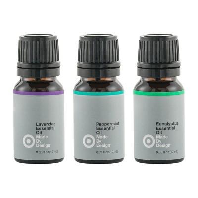 3pk .33 fl oz Essential Oil Starter Set Lavender/Peppermint/Eucalyptus - Made By Design™