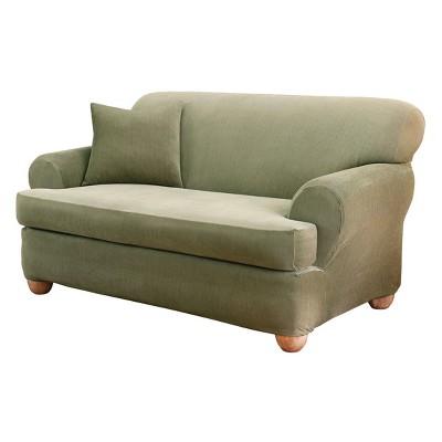 "2pc Stretch Stripe T-Cushion Sofa Slipcover 42""x40""x96"" - Sure Fit"
