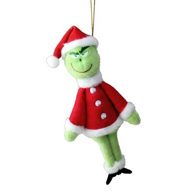 "Kurt S. Adler 7.25"" Dr. Seuss The Grinch Santa Suit Plush Christmas Ornament - Red/Green"